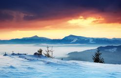 Winter landscape in mountains Royalty Free Stock Photography