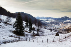Winter landscape. In the mountains, above a village Royalty Free Stock Photography