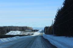 Winter Landscape. With mountains in the Background in the Eastern Townships, Quebec royalty free stock photography