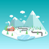 Winter landscape with mountains, forest and lake. House in the f Stock Image