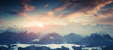 Winter landscape in the mountains. Royalty Free Stock Photo