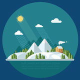 Winter landscape mountains snow-capped hills. flat vector illust Stock Image