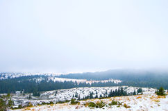 Winter Landscape. In the mountains with snow and cold Stock Images