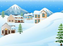 Winter landscape with mountains and snow covered house. Illustration of Winter landscape with mountains and snow covered house Stock Photography
