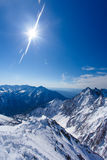 Winter landscape of mountains. Snow-covered mountains. Beautiful. Mountain landscape Royalty Free Stock Image
