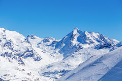 Winter landscape of mountains, Tignes, France. Ski Area on a background of mountains in the winter. Tignes, France Royalty Free Stock Photos