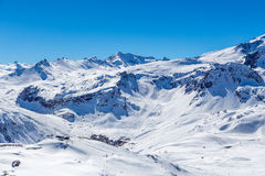 Winter landscape of mountains, Tignes, France. Ski Area on a background of mountains in the winter. Tignes, France Stock Photography