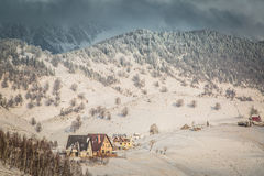 Winter landscape with mountains in Transylvania Stock Images
