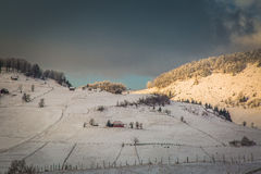 Winter landscape with mountains in Transylvania Stock Image