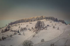 Winter landscape with mountains in Transylvania Royalty Free Stock Images