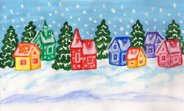 Winter landscape with multicolor houses, painting royalty free stock photo