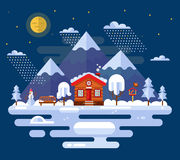 Winter landscape. Nature winter landscape illustration with mountains, moon, clouds, snowfall, trees, bench, cartoon house, ice rink, snowman and bird feeders Royalty Free Stock Image