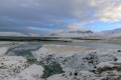 Winter landscape near winter landscape in Iceland. Mountain and royalty free stock image