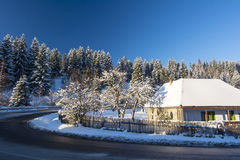 House and trees, winter landscape Stock Image