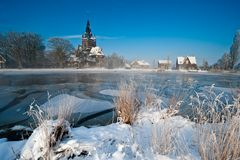 Winter landscape in the Netherlands. Nes aan de Amstel, Holland Royalty Free Stock Image