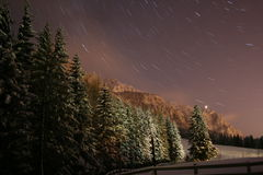 Winter landscape in the night. A view from natural reservation Royalty Free Stock Photo