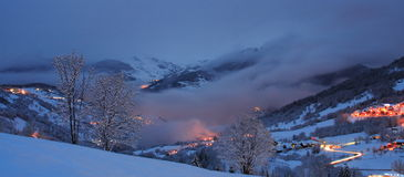 Winter landscape by night stock photography