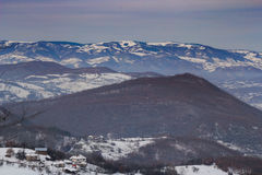 Winter landscape in Novi Pazar, Serbia. Mountains covered with snow and fog in Novi Pazar, Serbia Stock Photos