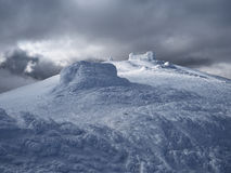Winter landscape with the observatory in the mountains Stock Photography