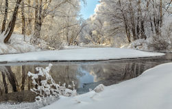 Free Winter Landscape Of Snow-covered Fields, Trees And River In The Early Misty Morning Stock Photo - 59143110
