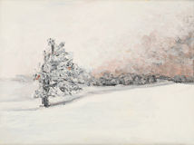 Winter landscape, oil painting Royalty Free Stock Photography