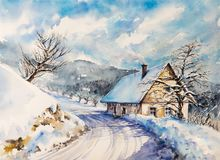 Winter landscape with house watercolors painted Royalty Free Stock Image