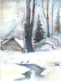 Winter landscape. old house in the woods. watercolor stock illustration