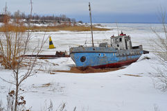 Winter landscape. Old ship. Royalty Free Stock Photos