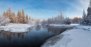 Winter Landscape On The Ice-free Stream In South Yakutia, Russia Stock Photos