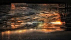 Winter Landscape Outdoors Lake Ice Sunset Light Colors Stock Photo
