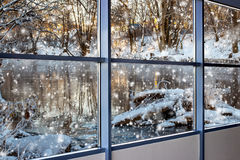 Winter landscape outside the window Royalty Free Stock Photos
