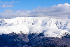 Winter landscape over Carpathian Mountains. Panorama of snow mou Stock Image