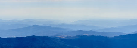 Winter landscape over Carpathian Mountains peaks. Panorama of sn Royalty Free Stock Photos