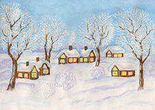 Winter landscape, painting. Hand painted Christmas illustration, watercolours and white gouache, winter landscape with village houses and trees on blue sky Royalty Free Stock Photos