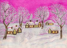 Winter landscape, painting Royalty Free Stock Photos