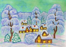 Winter landscape, painting Royalty Free Stock Images