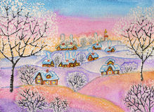 Winter landscape, painting. Hand painted illustration, winter landscape, watercolours and white acrylic, can be used as picture for Christmas and New Year Royalty Free Stock Image