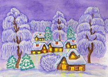 Winter landscape, painting Stock Image