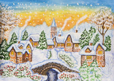 Winter landscape, painting Stock Photo
