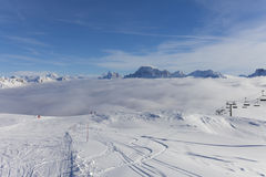 Winter Landscape. Panorama of the Alpes at the Falcade in Italy Royalty Free Stock Images