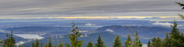 Winter landscape (panorama) of Greater Vancouver Stock Image