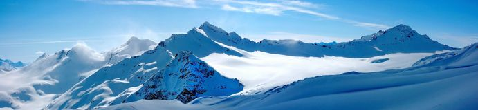 Winter landscape. Panorama of the mountains Royalty Free Stock Photos