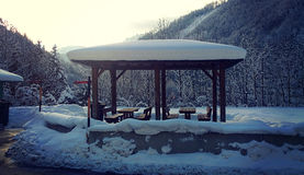 Winter landscape, panorama point in Austrian Alps covered by sno Stock Photo
