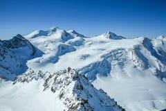 Winter landscape - Panorama of the ski resort with ski slopes. Alps. Austria. Pitztaler Gletscher. Wildspitzbahn royalty free stock images