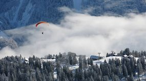 Winter landscape and paraglider Stock Photography