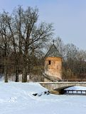 Winter landscape of the Pavlovsk garden, Pil-Tower pavilion. Royalty Free Stock Image