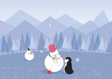 Winter landscape with penguin and cute snowman (ve Royalty Free Stock Photography