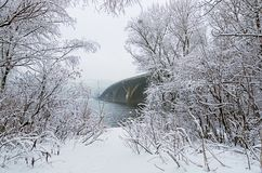 Winter landscape photo. Beautiful snow covers tree`s brunches and ground. Metrosubway bridge across the Dnipro River. At foggy morning. Kyiv, Ukraine Royalty Free Stock Photos