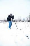 Winter landscape photographer Royalty Free Stock Photography