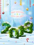 New Year 2018 of christmas tree twigs in snow. Winter landscape with pine branches, decoration, congratulation. Vector image for new years day, christmas, winter Stock Photos